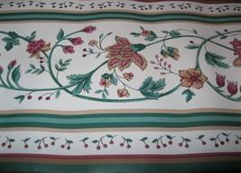 Wallpaper Border Traditional Tan Wine Burgundy Vine Flowers White Green EH99742 - $14.84