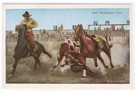 Bulldogging Steer Cowboy Western Rodeo 1920s postcard - $6.44