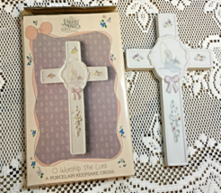 "Vintage PRECIOUS MOMENTS ""O Worship The Lord"" Porcelain Keepsake Cross NIB - $10.00"