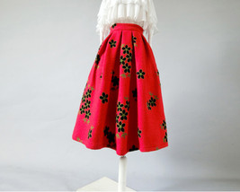 RED Flower Winter Long Pleated Skirt Warm Woolen Pleated Skirt Christmas Outfit image 6