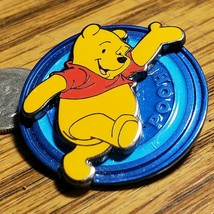 Disney Pin Winnie the Pooh Disk Blue 2003 Walking and Waving 3D Layered ... - $14.50