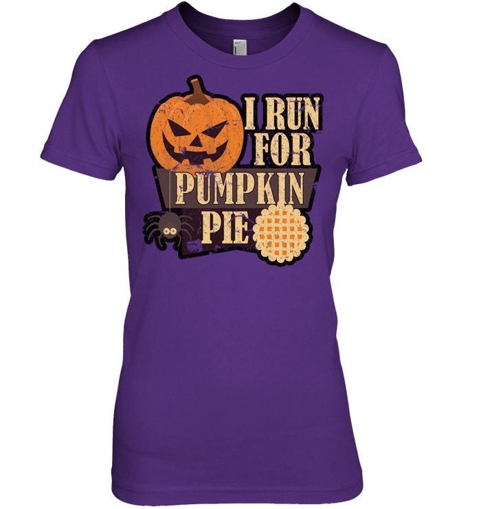 Funny Halloween Tshirt Run For Pumpkin Pie Distressed