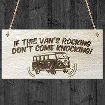 If This Vans Rocking Dont Come Knocking Novelty Wooden Hanging Plaque Si... - $11.99