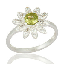 Peridot Gemstone 925 Sterling Silver Engagement Girls Ring Fine Jewelry - $19.80