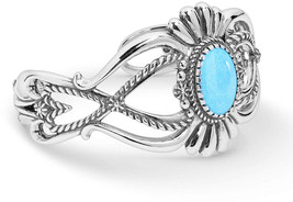American West Sterling Silver Blue Turquoise Gemstone Floral Petal Cuff ... - $758.09