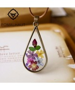 Immortalized multicolor flower Leather Chain Long Strip Pendant Necklace  - $10.99