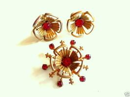Vintage 1930s 40s Art Retro Pendant & Earrings SET - $45.58