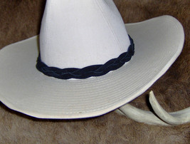 Custom Made Braided Leather Hat-Band,  One Piece Genuine Cowhide Leather... - $20.95