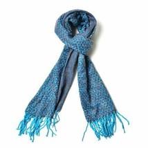 Dark Blue and Orange Colour Scarf with Tassels (Size 180x60 Cm) - $6.43