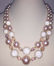 """Multi Strand Necklace Faux Pearls White & Rose Pink Beads Graduated Vintage 18"""" - $12.86"""