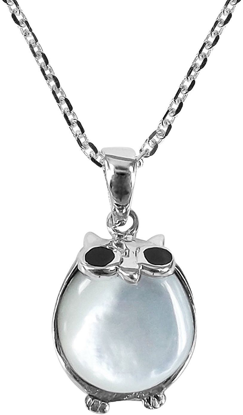 Primary image for 925 Sterling Silver Cute Night Owl And Mother Of Pearl Shell Pendant Necklace