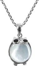 925 Sterling Silver Cute Night Owl And Mother Of Pearl Shell Pendant Nec... - $72.76