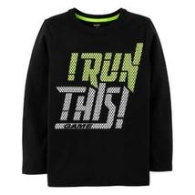 NEW $20 Boys Carters Black Long Sleeve I RUN THIS GAME Track Crew Shirt-sz 4/5 - $11.88