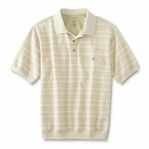 David Taylor Men's Cotton Blend Geometric Collared Lightweight Polo Shirt - M