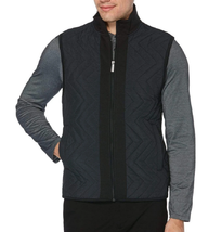 Perry Ellis Big & Tall Ponte Chevron Zip Front Vest, Black, 3X - $64.34