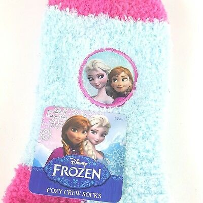 Disney Frozen Elsa Anna Little Girls Cozy Fuzzy Socks Size 7-9 Pink Blue NWT image 2
