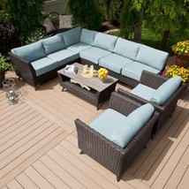 5 Piece Patio Set Wicker Blue Cushions Outdoor ... - $2,243.84