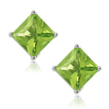 Peridot Square Princess Cut CZ Crystal WG Plated Sterling Silver Stud Earrings   - $20.29+