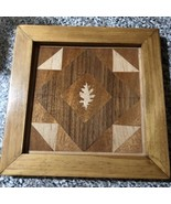 handcrafted Wood Inlay quilt under the oak with Oak Frame 8 x 8 framed - $40.91