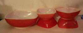 Red Pyrex Square Hostess Set of 5 1 Large 4 Small - $38.79