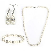UNITED ELEGANCE Faux Pearl & Crystal Set- Necklace, Drop Earrings & Bracelet  - $19.99