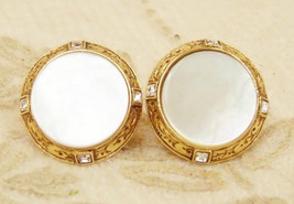 Vatican Jewelry Collection Earrings Mother of Pearl MOP Vintage Jewelry ... - $49.48