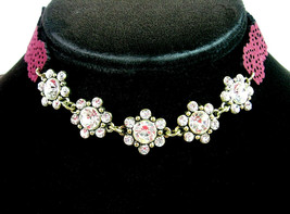 "Rhinestone Choker Necklace Flower Groups Cranberry Burgundy Floral Goldtone 16"" - $12.99"