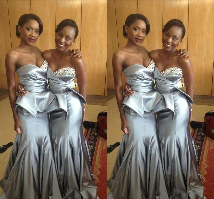 Silver grey font b bridesmaid b font font b dresses b font mermaid long party gowns