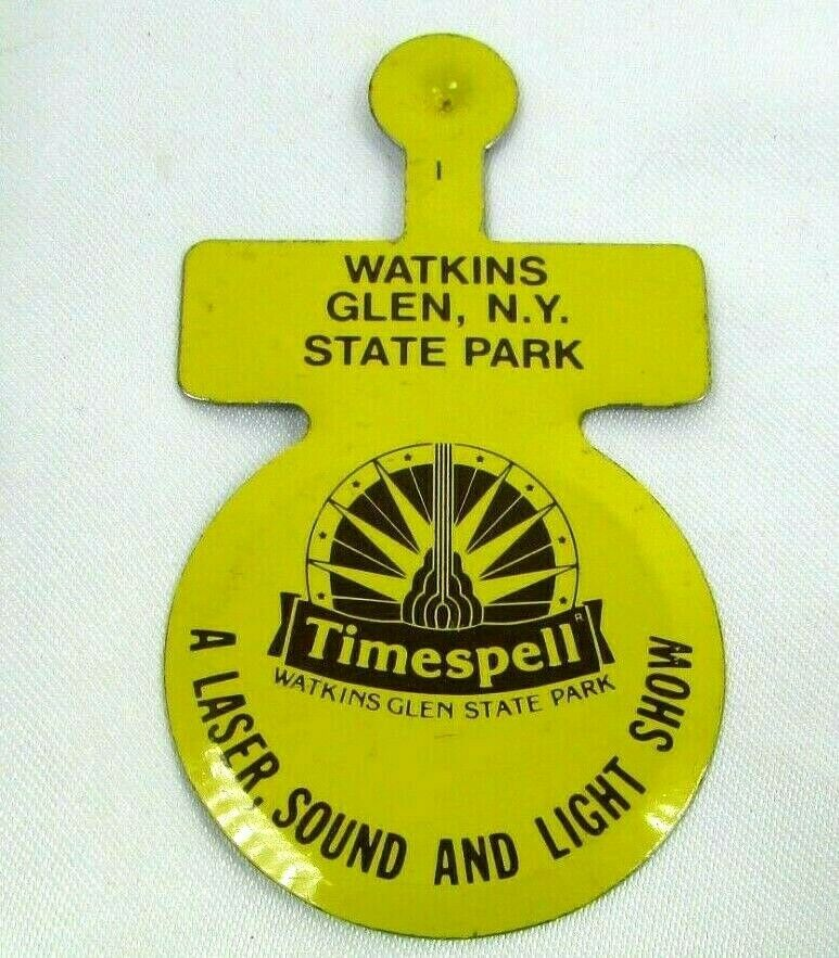 Primary image for 80s VTG Fold Over Tab Button WATKINS GLEN Timespell Light Show State Park Unused