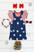 Girls 4th of July Boutique Outfit Toddler Girls 2 PC Patriotic Jumper & ... - $26.99