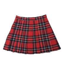 Women Girl RED Pleated Plaid Skirt School Girl Red Plaid Pleated Skirt Plus Size image 3