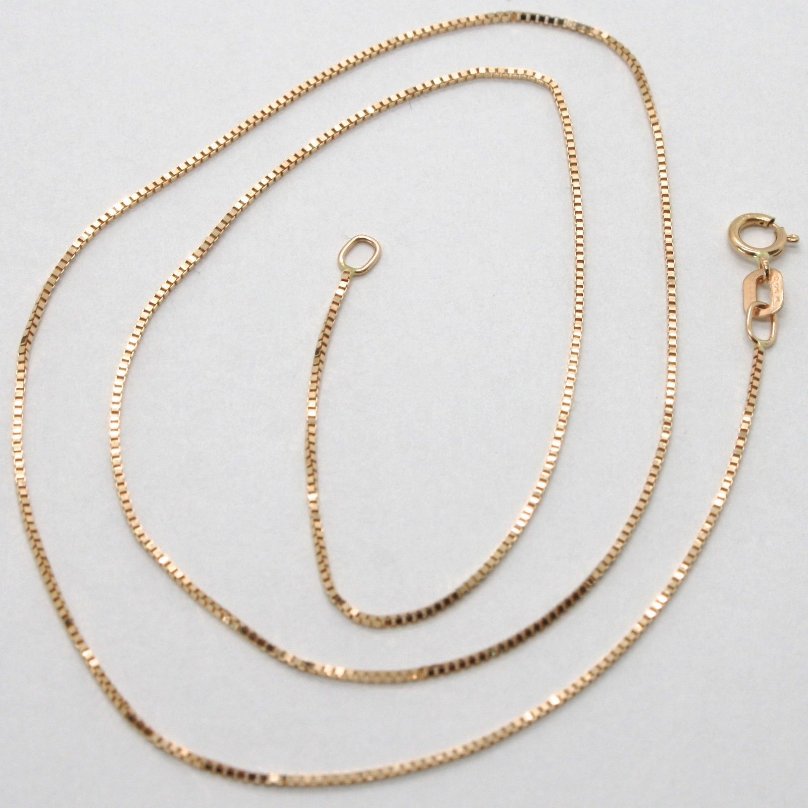 18K ROSE GOLD CHAIN MINI 0.8 MM VENETIAN SQUARE LINK 17.7 INCHES MADE IN ITALY