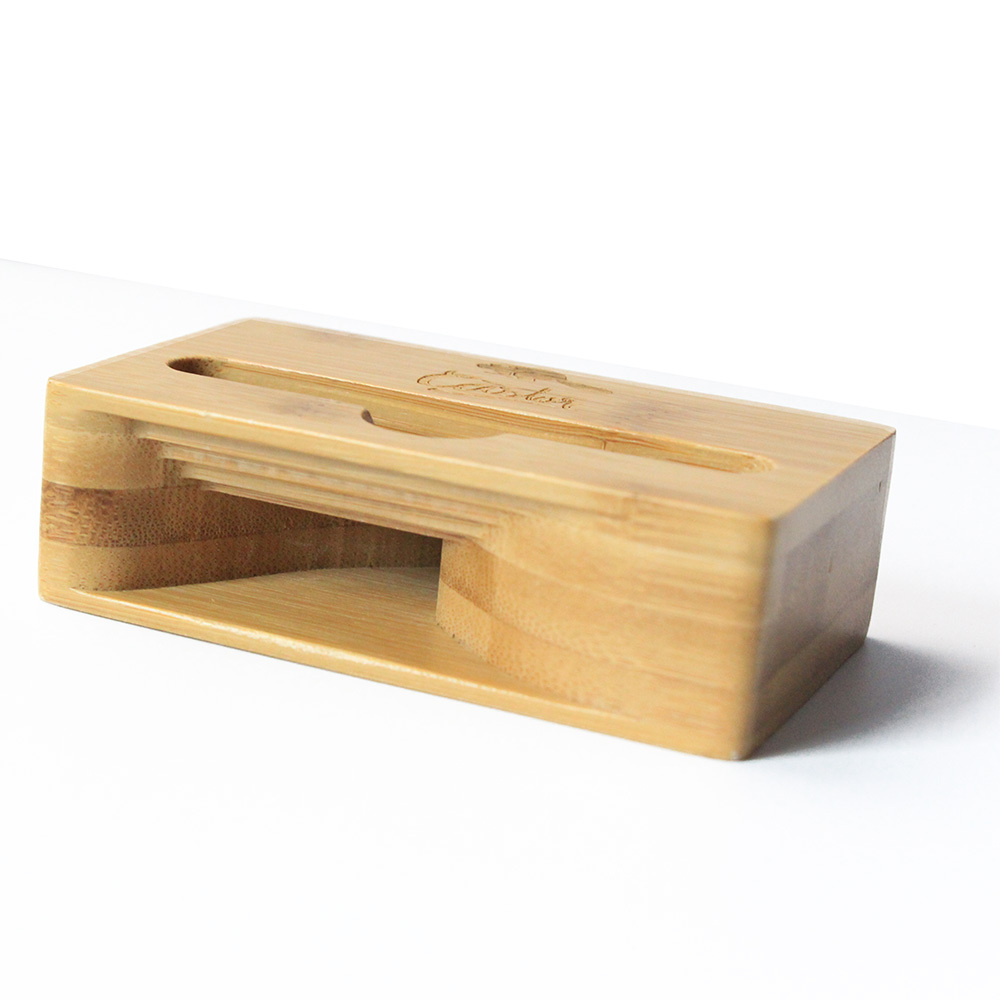 2 in 1 Bamboo Amplifier Speaker Dock For Smart Phone, Natural & Eco Friendly