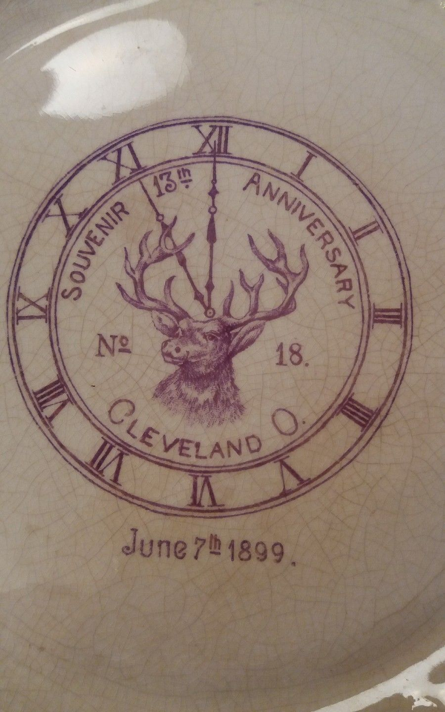 Antique Elk Lodge Dresden Souvenir Plate 13th Anniversry Cleveland OH No. 18 lod