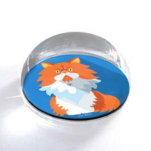 """White and Orange Cartoon Cat Illustration 2"""" Crystal Dome Magnet or Pape... - $15.99"""