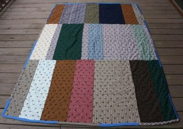 Vintage Handmade Knotted Colorblock Quilt Twin 57 x 88 - $32.13