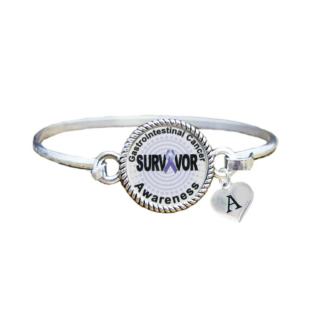 Primary image for Custom Gastrointestinal Cancer Survivor Silver Bracelet Jewelry Choose Initial