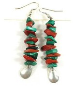 Natural green Malachite & red Jasper Stone beads drop charming earrings - $25.74