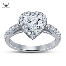 Heart Shape White Diamond Engagement Wedding Ring In 14k Gold Plated 925... - ₨5,087.96 INR