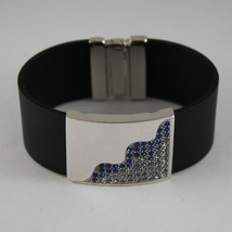 .925 RHODIUM SILVER BRACELET WITH RUBBER AND PLATE WITH BLUE CRISTALS image 1