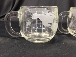 (3) Vintage Nestle Clear World Globe Map Glass Coffee Cups - $16.99