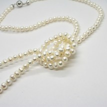 110 cm long necklace in 18k white gold freshwater white pearls made in italy image 2