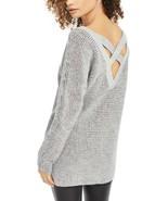 Bar III Crisscross-Back Rib Knit Tunic Sweater, Marled Gray NWOT Large - $8.78