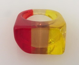 Vintage Lucite Tri-Colored Ring Size 8 - $42.00