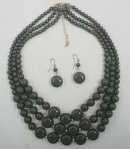 "Vtg 80's Chunky Olive Bead 3 Strand Necklace 18"" Princess Length Dangle ... - $8.79"