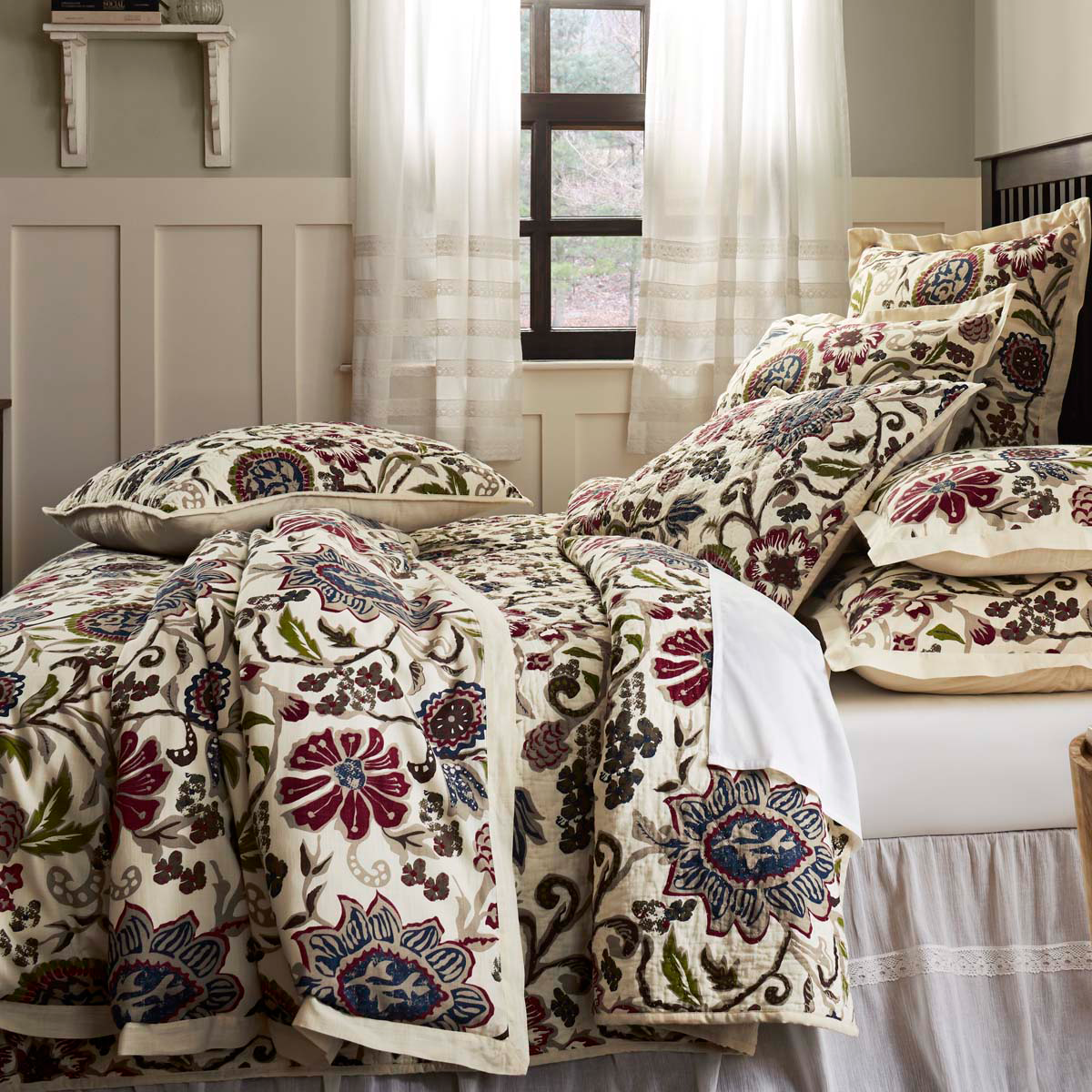 3-pc King HOPE Quilt and Shams Set - Green Apple, Rose, Lake Blue - VHC Brands