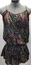 Forever 21 Satin Tunic Tank Top Size Small S Floral Abstract Tie Neck Shirt - $9.49