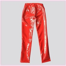 Bright Red Tight Fit Faux Leather High Waist Front Zip Up Legging Pencil Pants image 5