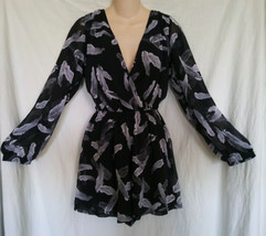 EXPRESS S Black Gray Abstract Feather Shorts Romper Jumpsuit Jumper Play... - $19.00