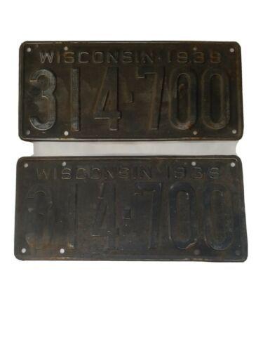1939 Wisconsin License Plate Set Vintage